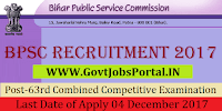 Bihar Public Service Commission Recruitment 2017– 63rd Combined (Preliminary) Competitive Examination