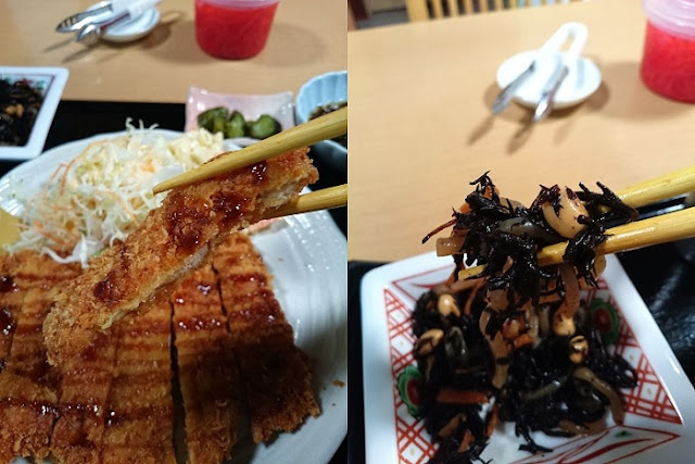チキンカツとヒジキの煮物の写真