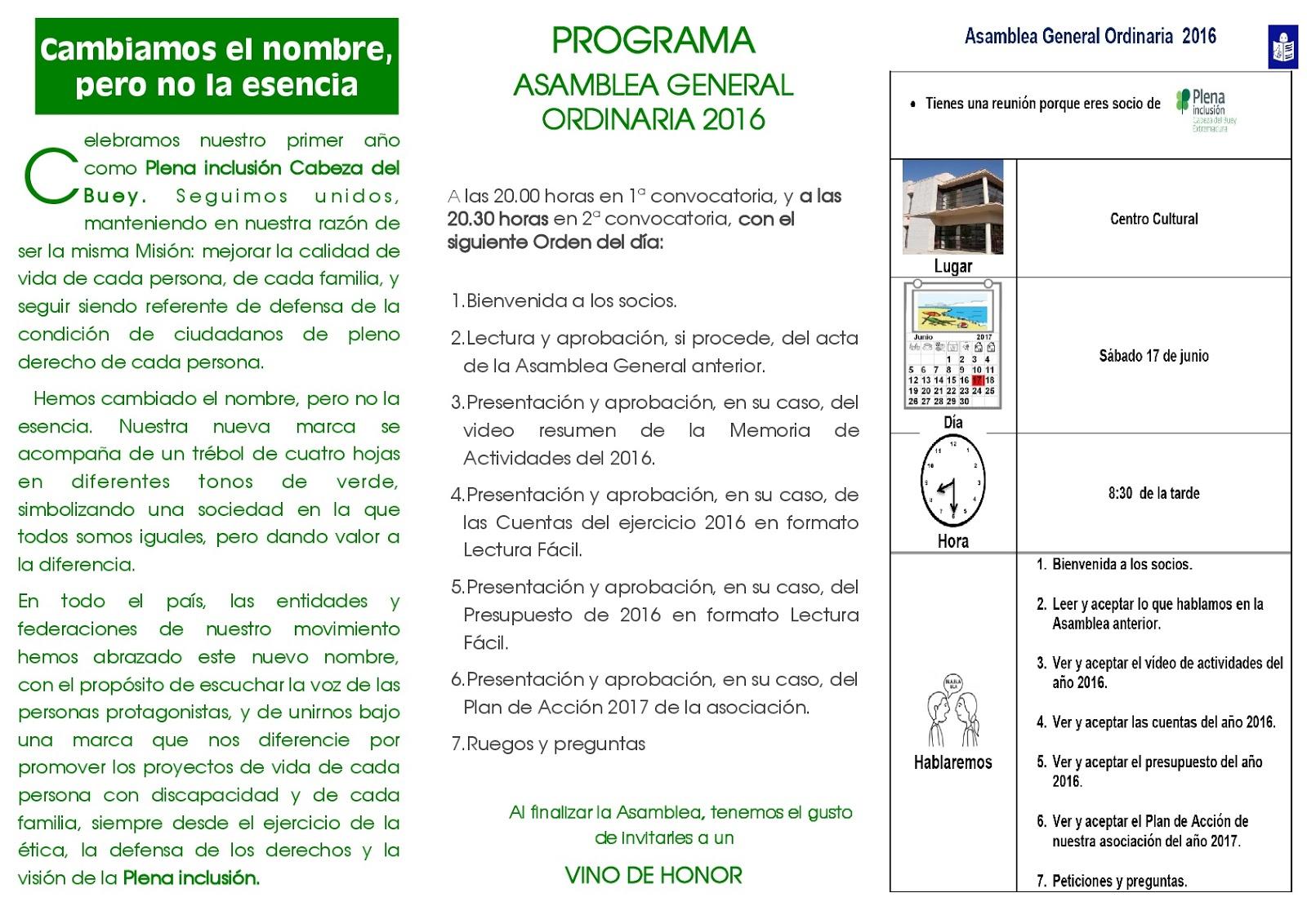 Plena inclusión Cabeza del Buey: ASAMBLEA GENERAL ORDINARIA