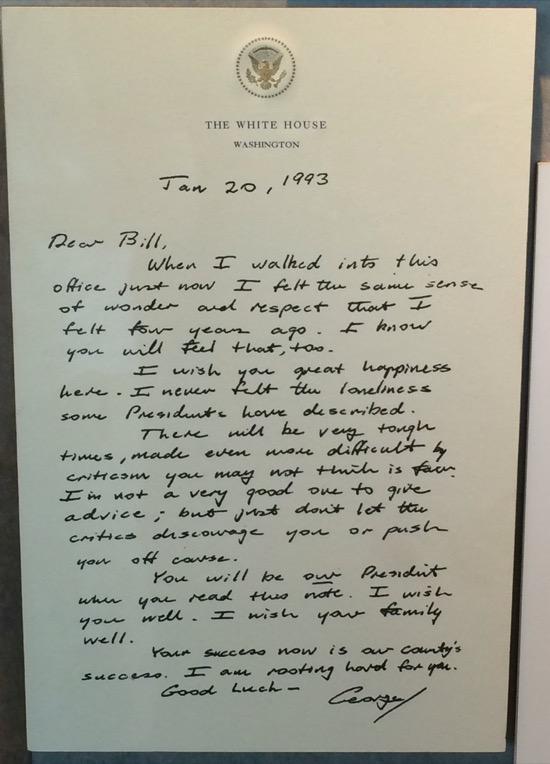 Nota de Bush a Clinton
