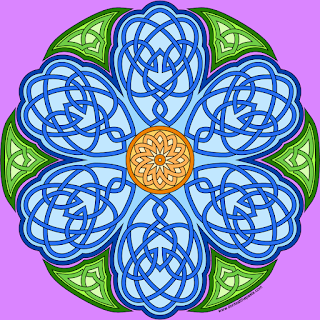 Knotwork flower with a blank version for coloring