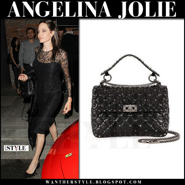 Angelina Jolie in black lace dress with black quilted studded bag valentino what she wore may 14 2017