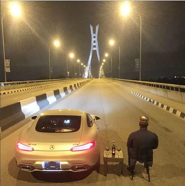 As Seen in Lagos: Man takes his car on a date on Lekki Bridge