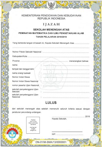 Blangko Ijazah SMA Tahun Pelajaran 2018/2019, http://www.librarypendidikan.com/