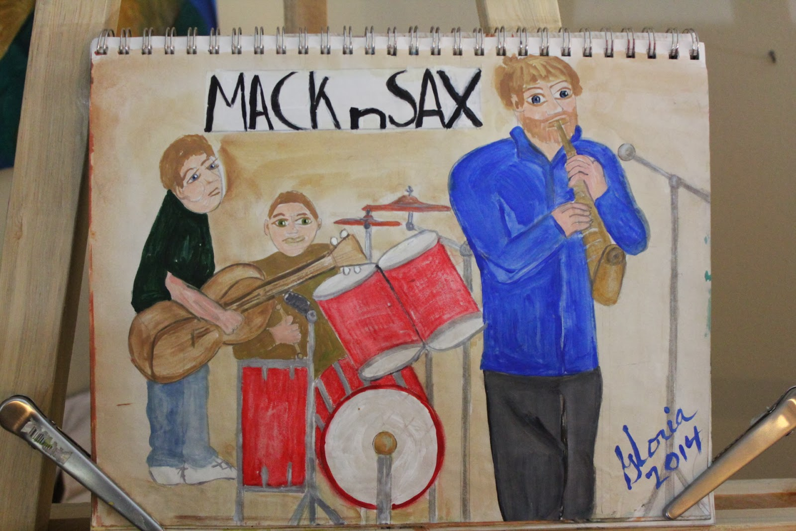 Mack-n-Sax sketch by Gloria Poole of Missouri & Georgia; 2-March-2014; acrylics