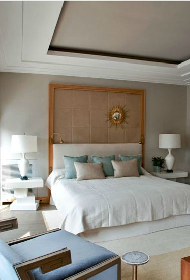 neutral and turquoise bedroom modern