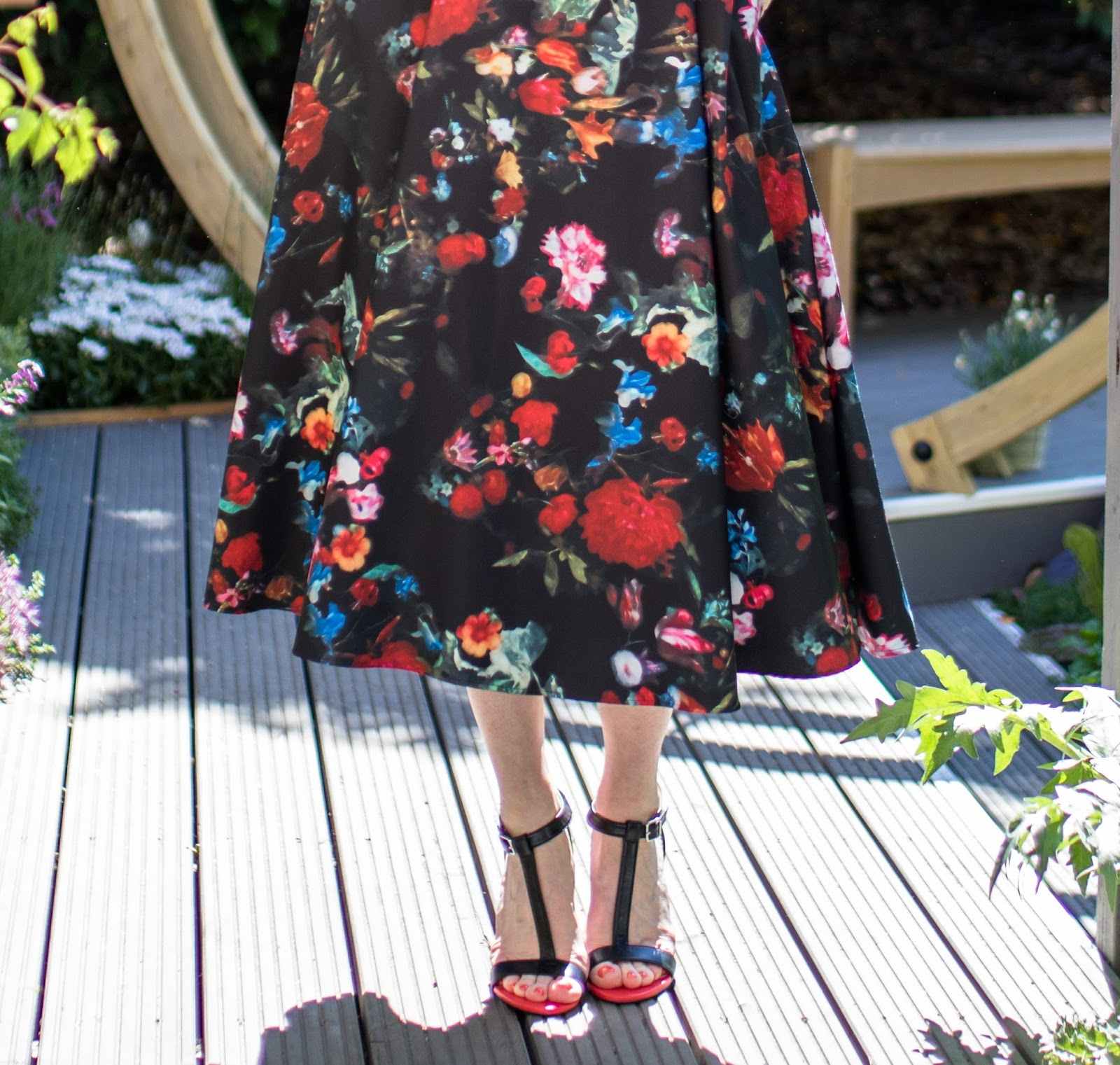 What-Lizzy-Loves-Madeleine-black-floral-peplum-top-matching-floral-midi-skirt-tomato-red-leather high-heeled-sandals-red-orange-leather-biker-jacket-what-to-wear-Chelsea-Flower-Show