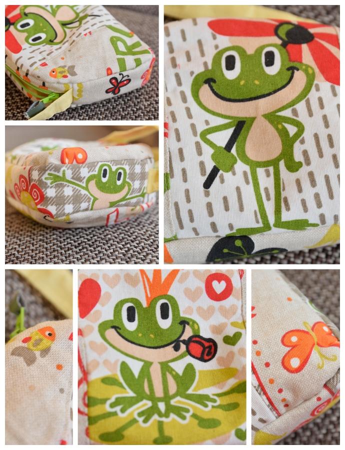 Überblick über die lustigen Kindermotive auf der Tasche: Frosch mit Blume, Frosch mit Krone, Frosch winkend, Fisch, Schmetterling