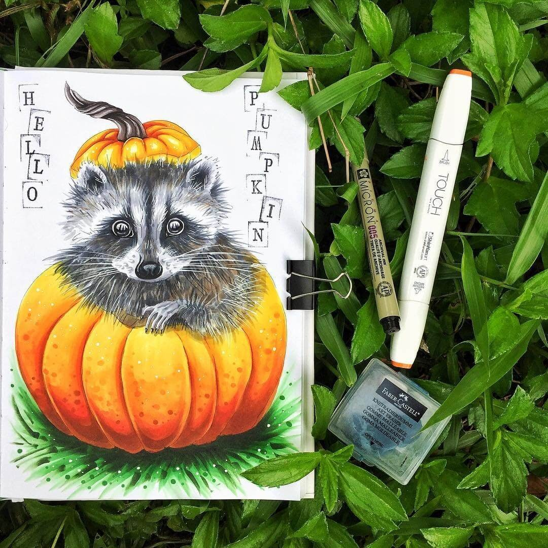 04-Raccoon-pumpkin-surprise-art-is-journey-Eclectic-Mixture-of-Fantasy-Drawings-www-designstack-co