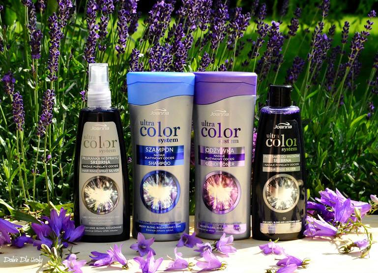 Joanna Ultra Color System - szampon, odżywka, płukanka i spray do włosów rozjaśnianych i siwych