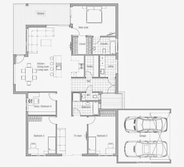 Affordable home plans affordable home plan ch70 for Affordable 3 bedroom house plans