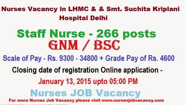 Nurses JOB Vacancy: Staff Nurse Vacancy in LHMC & & Smt ...