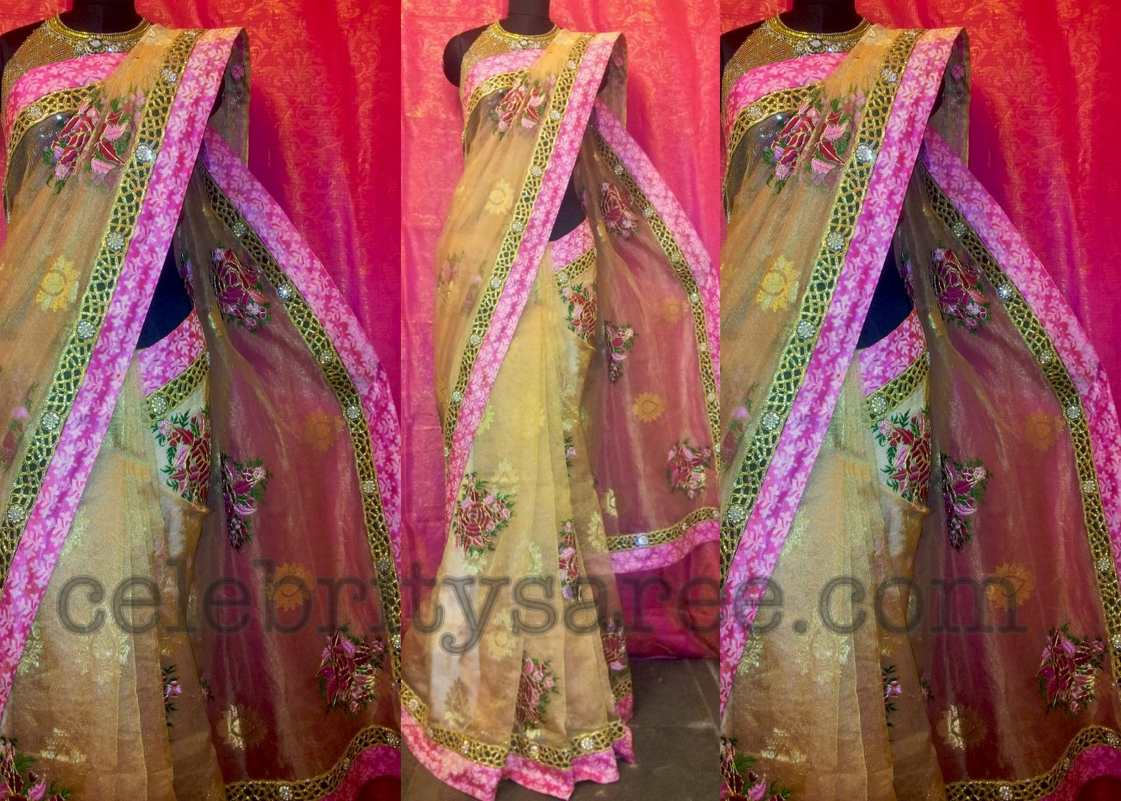 734325b42d335f Banaras Tissue Fabric Party Wear Saree - Saree Blouse Patterns