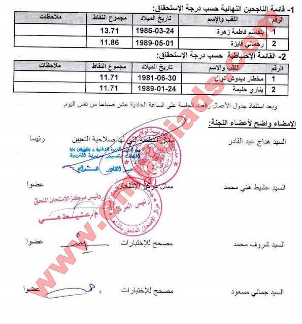 اعلان عن قائمة الناجحين عون ادارة و ملحق ادارة بمديرية التربية ولاية الشلف مارس 2017