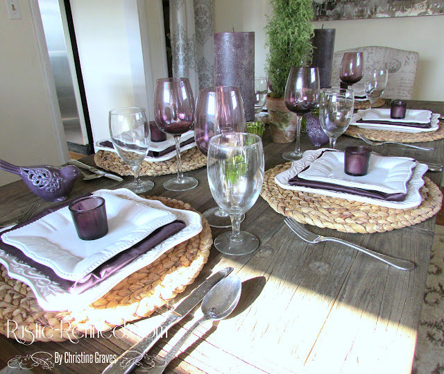 Purple and white color scheme tablescape suitable for Valentine's Day
