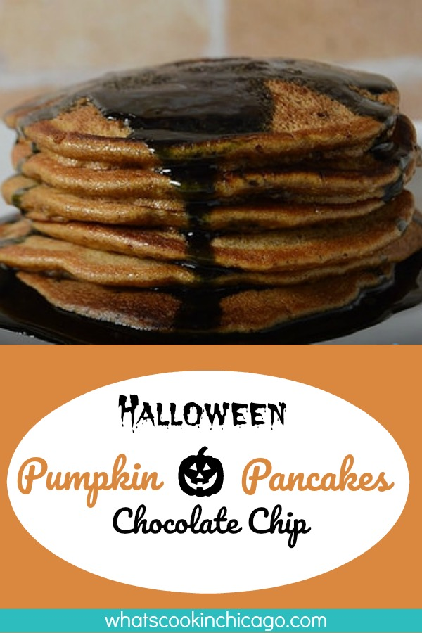 titled image (and shown): Halloween Pumpkin Chocolate Chip Pancakes with Black Syrup