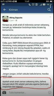Pemuda Muhammadiyah Karawang Meminta Aking Saputra Klarifikasi Pernyataanya di Facebook