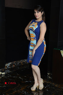 Actress Anchor Manjusha Pictures in Blue Short Dress at Jaguar Movie Success Meet  0161