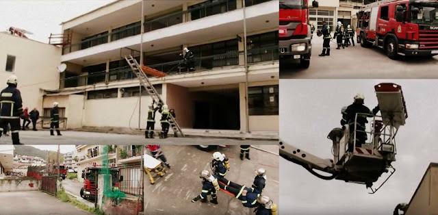 Εντυπωσιακές εικόνες από την άσκηση της Πυροσβεστικής στο 1ο Γυμνάσιο Ηγουμενίτσας (+ΒΙΝΤΕΟ)