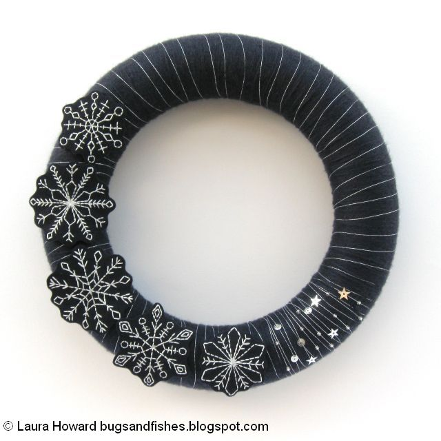add beads and sequins to the wreath