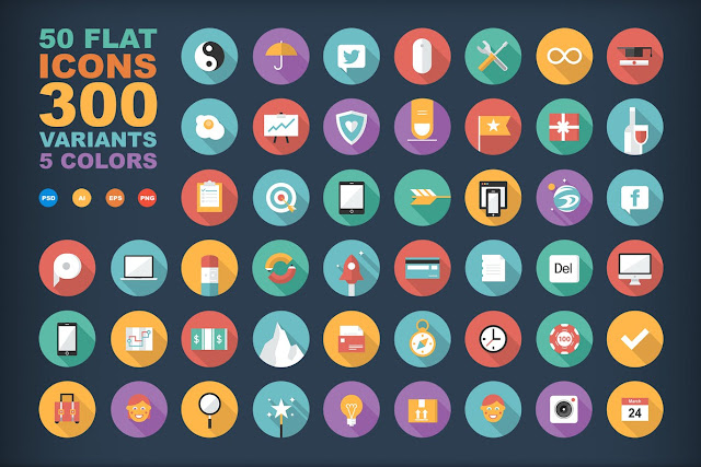 PSD, EPS, AI, PNG 50 Flat Icons- بلال ارت