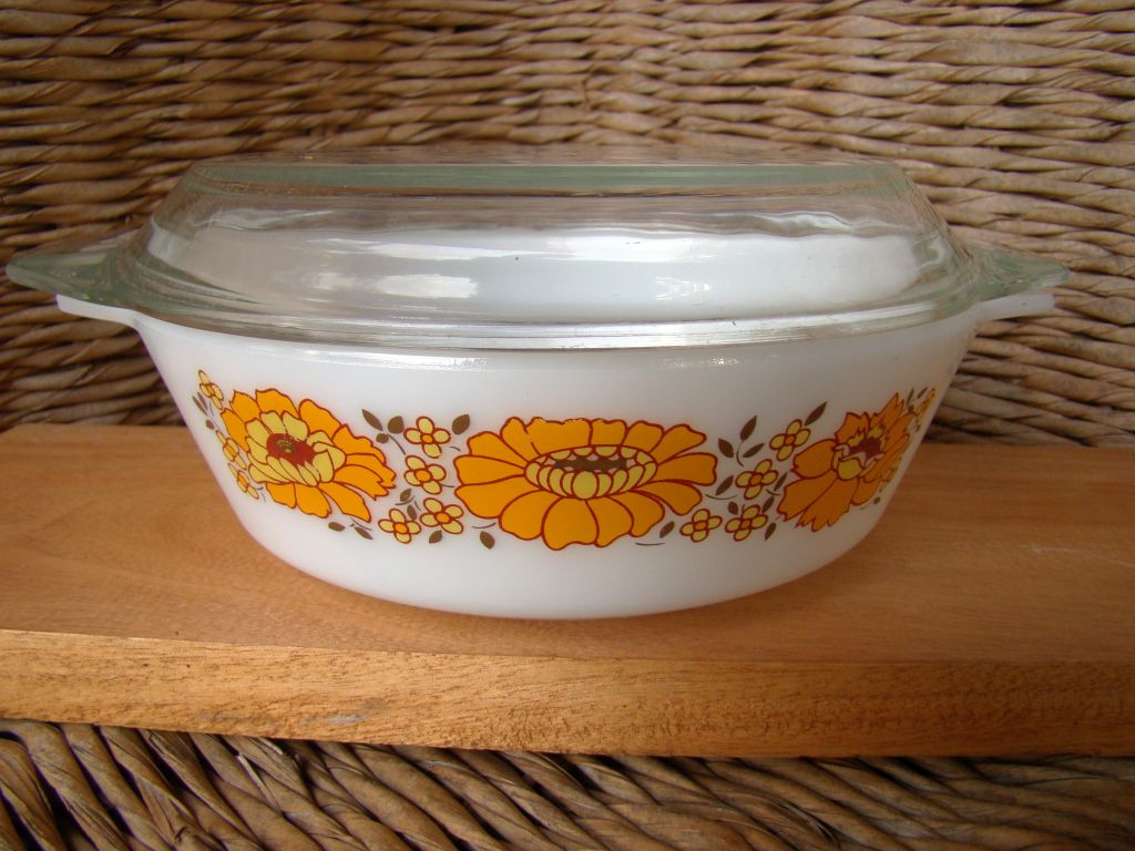 collectible vintage glass cookware sunflower round
