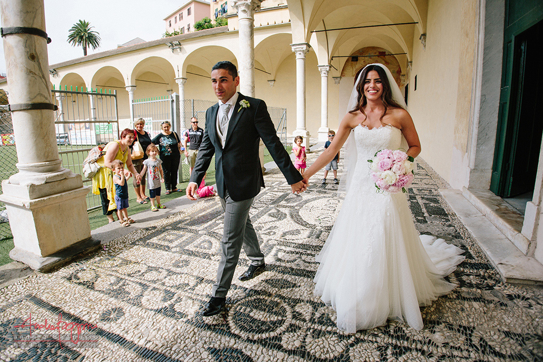 uscita sposi matrimonio Genova chiesa Certosa