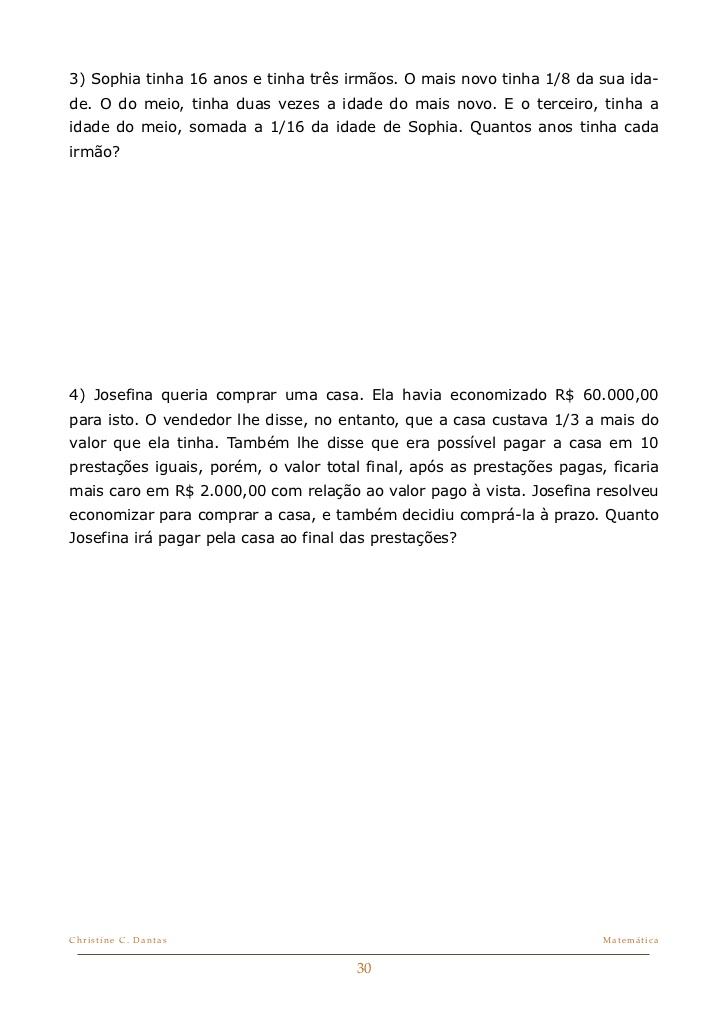 PROBLEMAS MISTURADOS DE MATEMÁTICA
