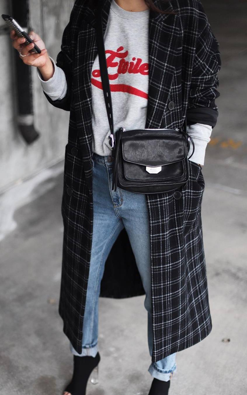 how to style a plaid coat : printed sweatshirt + boyfriend jeans + black boots + bag