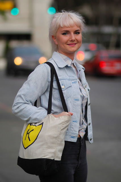 Isabel platinum bangs K records bag seattle street style fashion