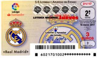 decimos de loteria dedicados hoy jueves al Real Madrid