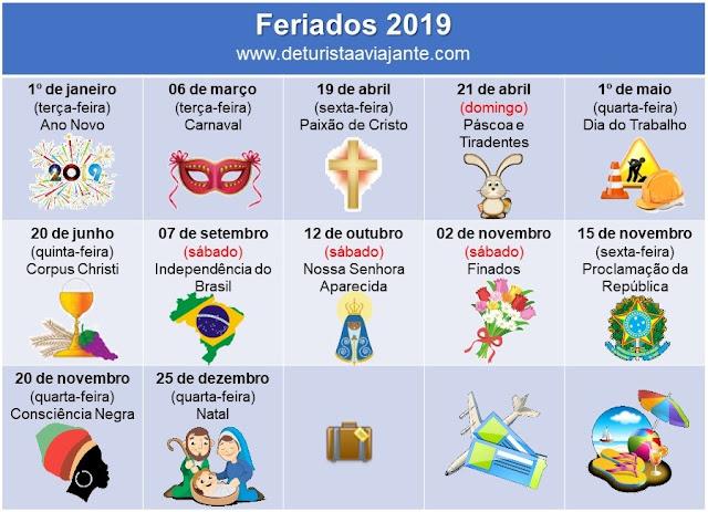 Feriados - 2019 - Brasil