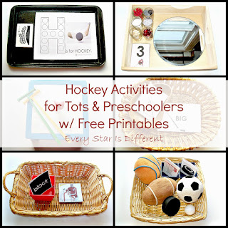 Hockey learning activities for tots and preschoolers with free printables