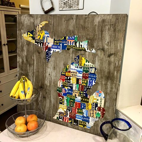 Using A Different Chunk Of Michigan License Plates This Colorful Piece Headed Over To The West Side Mitten State When Complete For Client Dale