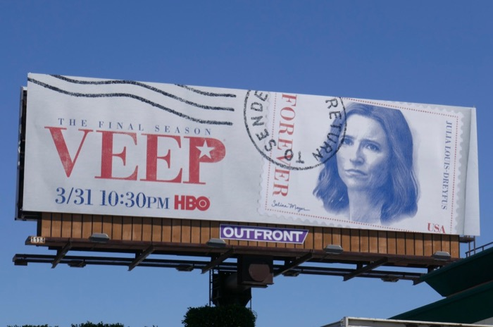 Veep season 7 Forever stamp billboard