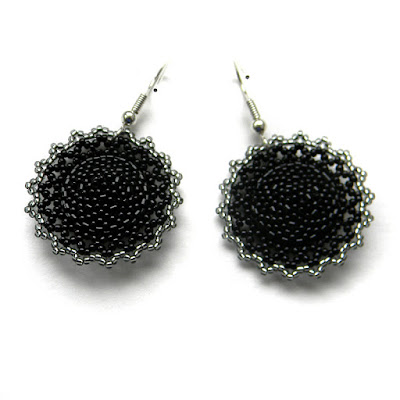 купить Черные бисерные серьги с кристаллами Swarovski россия крым