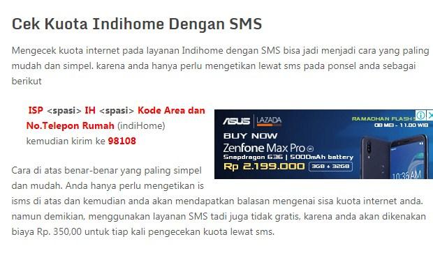 Cara Cek Kuota Internet Indihome Via SMS Terbaru 2019