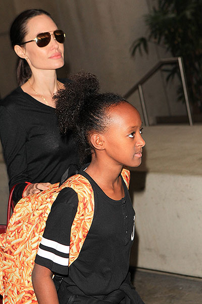 Jolie with kids at the airport in Los Angeles