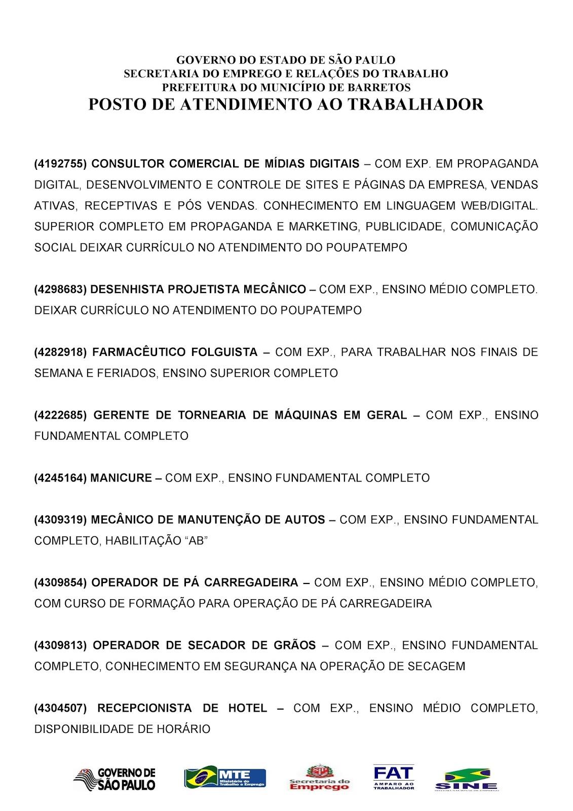 VAGAS DE EMPREGO DO PAT BARRETOS-SP PARA 23/11/2017 QUINTA-FEIRA - Pag. 2