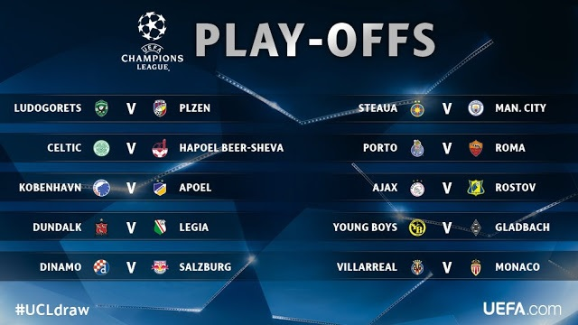 Manchester City paired with Steaua in Champions League playoff