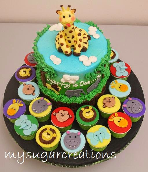 ... Creations (001943746-M): Jungle Theme 1st Birthday Cake for Harry