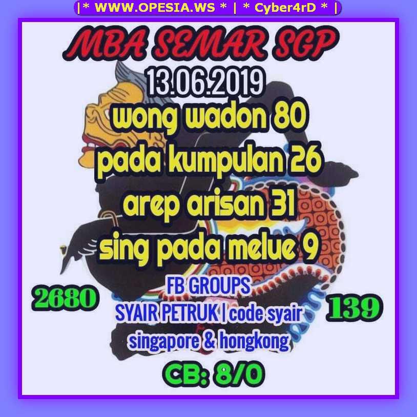 Forum Syair Sgp Kamis 13 Juni 2019 Forum Syair Togel