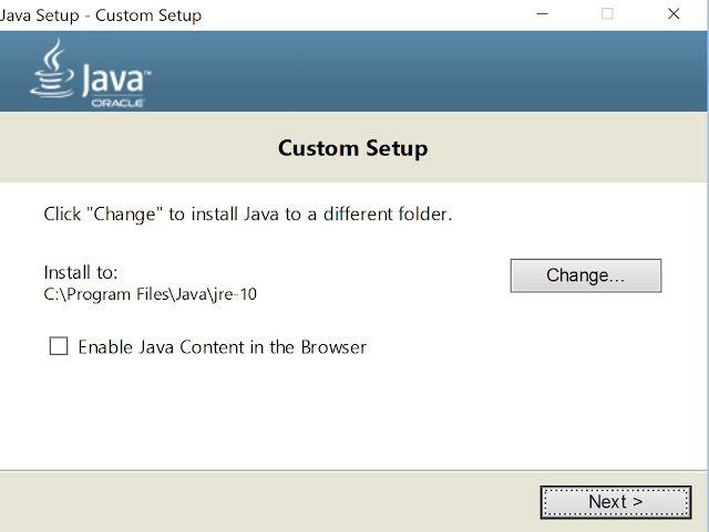 java custom setup