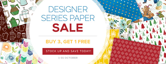 Take a look at our fabulous paper promotion - buy 3 packs of Stampin' Up! Designer Series Paper and get 1 pack absolutely FREE!
