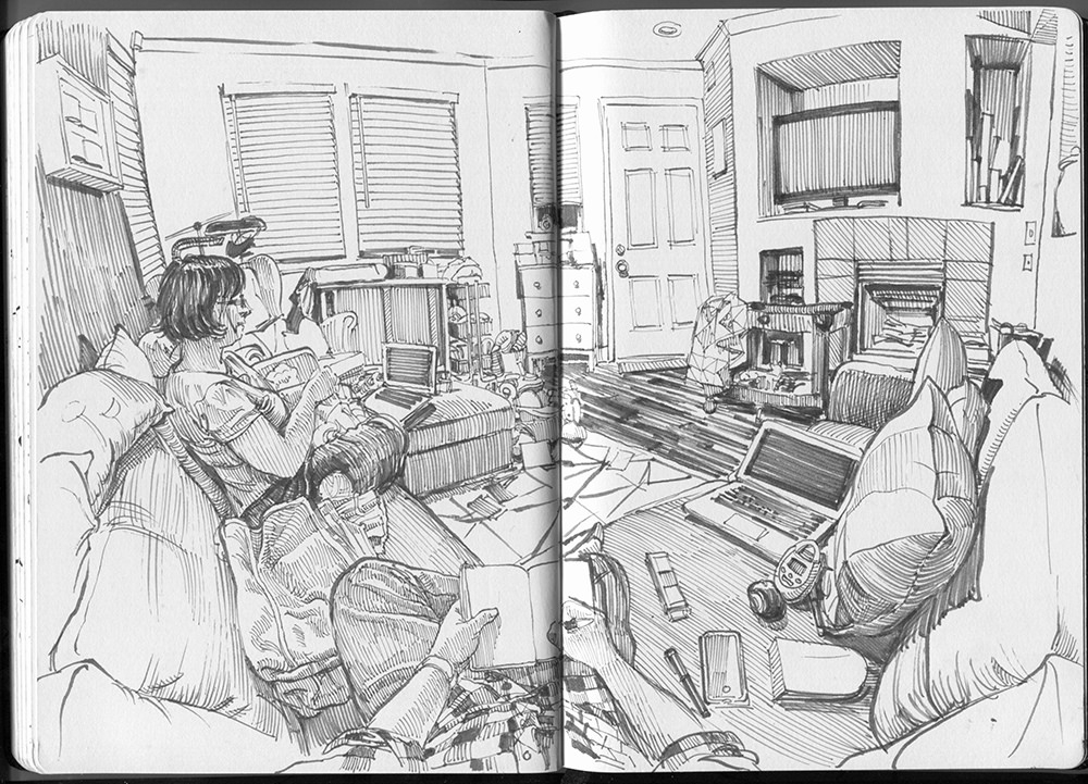 04-Living-Room-Gray-Paul-Heaston-Urban-Sketcher-in-Moleskine-Drawings-www-designstack-co