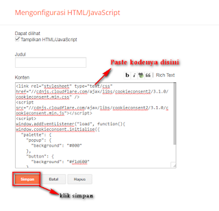 pasang plugin cookie di blog