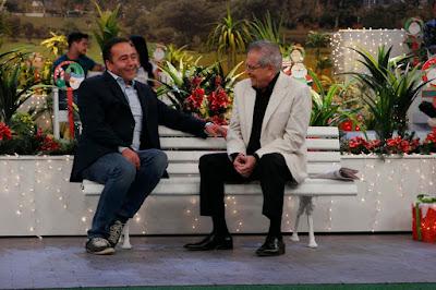 Beto e Carlos durante a gravação (Cauana Fernandes/SBT)
