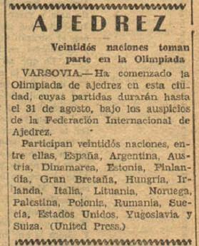 Torneo de las Naciones de Varsovia, La Nación, 19 de agosto de 1935