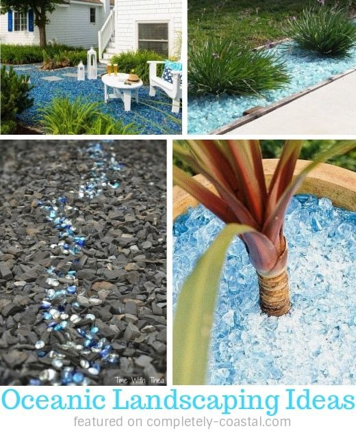 Blue glass landscaping ideas for a coastal ocean vibe