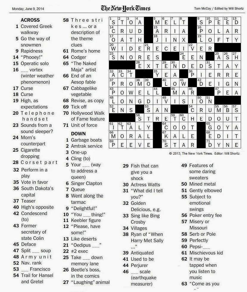 The New York Times Crossword in Gothic: 06.09.14